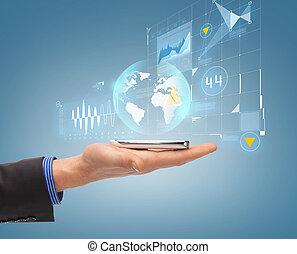 smartphone, auf, hand, schließen, mann, hologramm