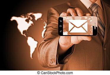 smartphone, avskärma, en, holdingen, färsk, meddelande,  man