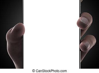 smartphone, avskärma, hand, kvinna, tom, vana