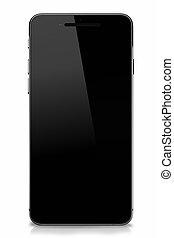 smartphone, avskärma, isolerat, vana, svart, tom
