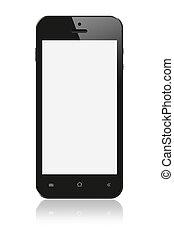 smartphone, avskärma, svart fond, tom, vit