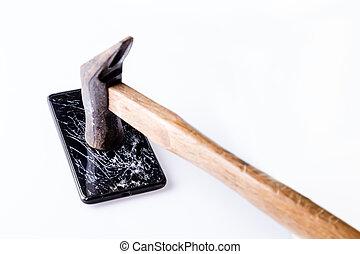 smartphone, avskärma, white., hammare, bruten
