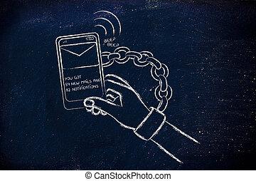 smartphone, böjelse, illustration, av, hand, länkat, till, a, mobil