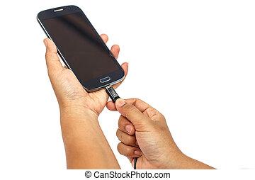 smartphone, ba, chargeur, isolé, main, relier, tenue, blanc
