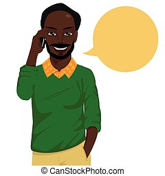 smartphone, baldheaded, falando, americano, hipster, atraente, homem africano
