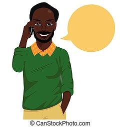 smartphone, baldheaded, sprechende , amerikanische , hüfthose, attraktive, afrikanischer mann