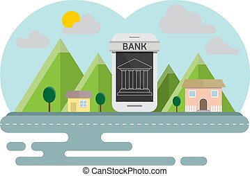 Smartphone  banking online concept countryside