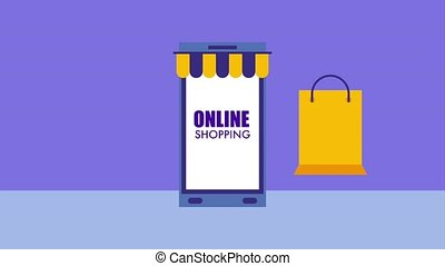 smartphone banknote money online shopping bag icon vector ilustration