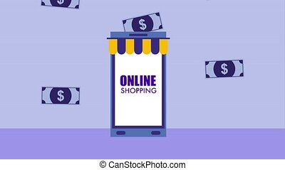 smartphone banknote money online shopping icon vector ilustration