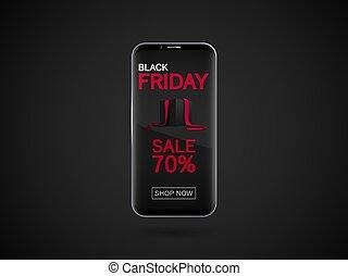smartphone, banner., vendredi, isolé, sombre, réaliste, vecteur, noir, arrière-plan.