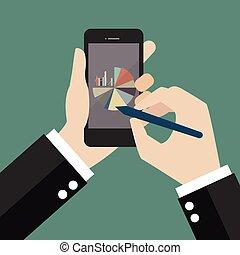 smartphone, bar, pasztetowa mapa morska, pisanie, ręka