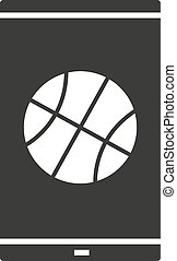 Smartphone basketball app glyph icon