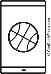 Smartphone basketball app linear icon