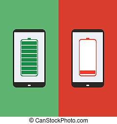 smartphone battery, flat design, vector