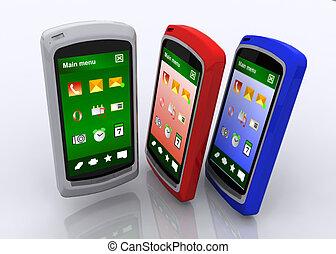 smartphone, begrepp, affär