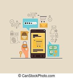 smartphone, bevestigen, beweeglijk, apps, achtergrond, rook, veiligheid, witte