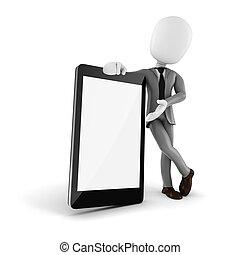 smartphone, beweglich, leer, mann, textanzeige, 3d