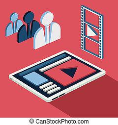 smartphone, beweglich, spieler, video, call., mann