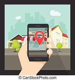 smartphone, beweglich, virtuelle wirklichkeit, ort, telefon, schifffahrt, augmented