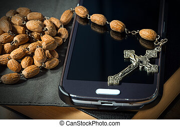 Smartphone Bible Crucifix and Rosary Beads