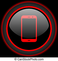 smartphone black and red glossy internet icon on black background