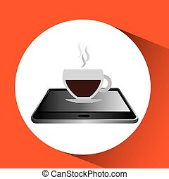 smartphone black lying cup coffee icon design