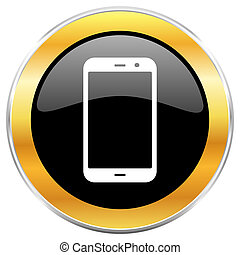 Smartphone black web icon with golden border isolated on white background. Round glossy button.