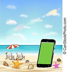 smartphone blank screen on a sea sand beach with shell starfish and beach chair