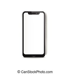 Smartphone blank white screen mockup 3d realistic vector illustration isolated on white background. Digital mobile phone to demonstrate application web elements.