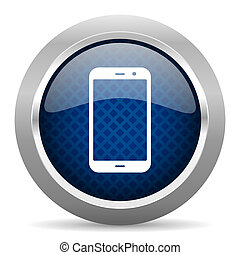 smartphone blue circle glossy web icon on white background, round button for internet and mobile app