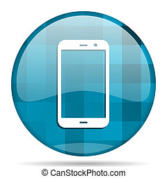 smartphone blue round modern design internet icon on white background