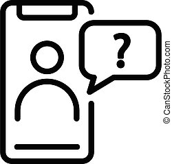 Smartphone bot icon, outline style