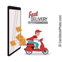 smartphone box package delivery icon