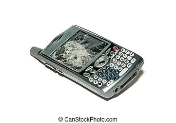 Broken smartphone isolated over white. A smartphone is a mobile phone offering advanced capabilities beyond a typical mobile phone, often with PC-like functionality