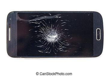 smartphone, bruten, mobil, avskärma, isolerat, bakgrund., spricka, vit