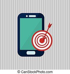 smartphone, bunte, abbildung, icon., technologie, design.