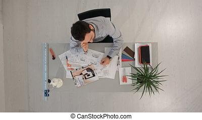 smartphone, bureau, fonctionnement, sommet, jeune, appeler, architecte, bureau, vue