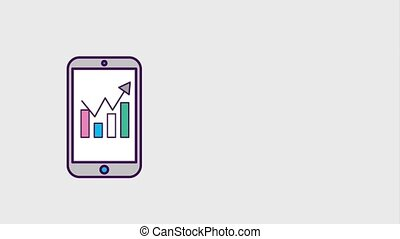 smartphone business financial statistic graph animation hd