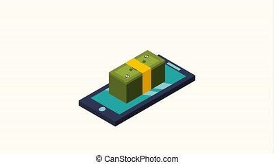 smartphone business money stacked banknote and coins...