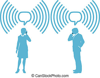 Smart phone business people phone talk in wireless speech bubble copy space