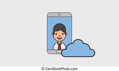 smartphone businessman and cloud computing net work