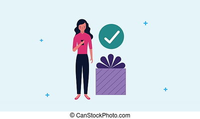 smartphone, cadeau, femme affaires, utilisation, jeune