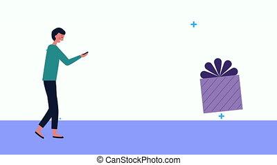 smartphone, cadeau, homme affaires, utilisation, jeune