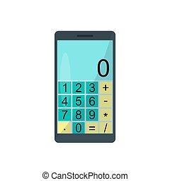 smartphone, calculatrice, illustration, arrière-plan., vecteur, blanc