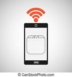 smartphone calendar internet wifi icon