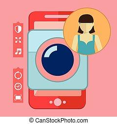Smartphone camera app, selfie icon