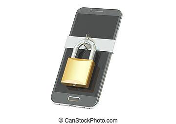 smartphone, candado, concept., interpretación, seguridad, 3d