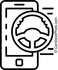 Smartphone car sharing icon, outline style