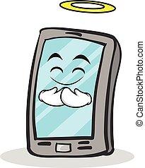smartphone, carattere, cartone animato, innocente, faccia