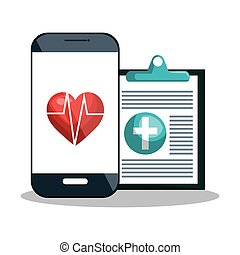 smartphone, cardiologia, disegno digital, diagnosi, sanità